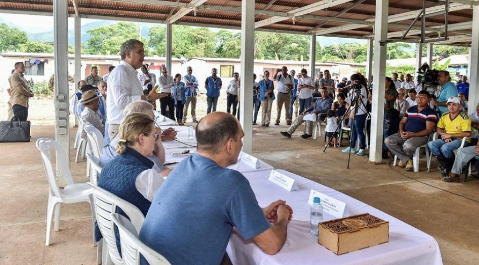 El Jefe de Estado visitó uno de los Espacios Territoriales de Capacitacion y Reincorporacion (ETCR) de las Farc en Fonseca, La Guajira.