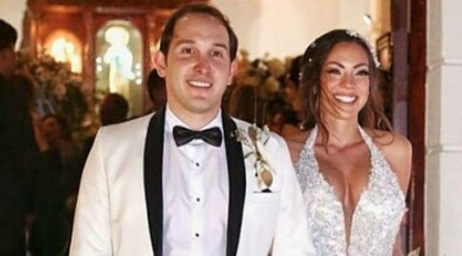 Los novios Juan Pablo Silva y la exseñorita Colombia Eileen Roca.