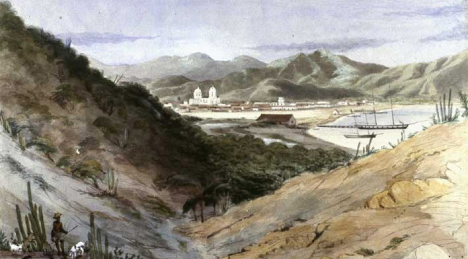 Acuarela del puerto de Santa Marta conservado por la Biblioteca Luís Ángel Arango