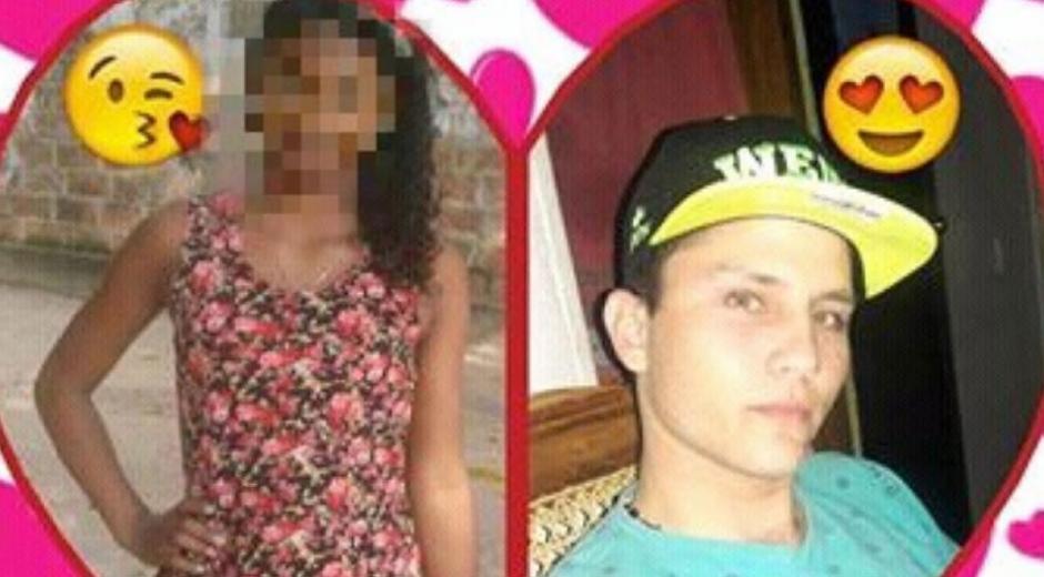 Alí Johani Ríos en una foto junto a la joven de 15 años a quien le disparó.