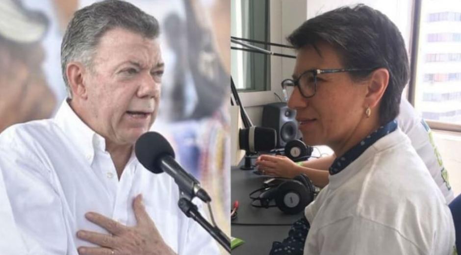Juan Manuel Santos y Claudia López.