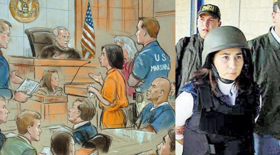 """Imagen de archivo de la ilustración del juicio por tráfico de drogas celebrado en Washington, el pasado 2 de julio de 2007, contra la guerrillera colombiana Anayibe Rojas Valderrama, alias """"Sonia""""."""