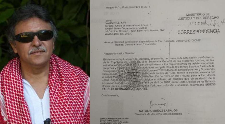 La carta perdida que pedia pruebas en contra de Santrich