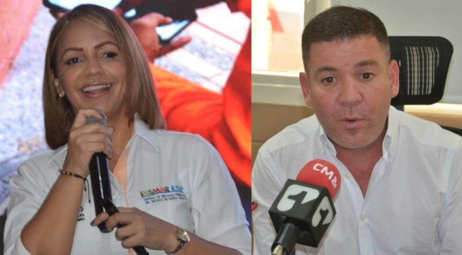 Ingrid Aguirre, ex gerente de la Essmar; y José Rodrigo Dajud, actual gerente