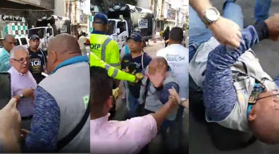 Momento en que el periodista Omar Ospino cae al suelo.
