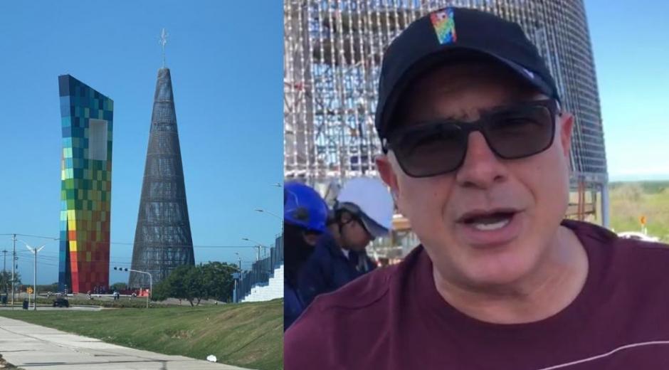 Christian Daes hablando sobre el gran áarbol de navidad que se instalará en Barranquilla