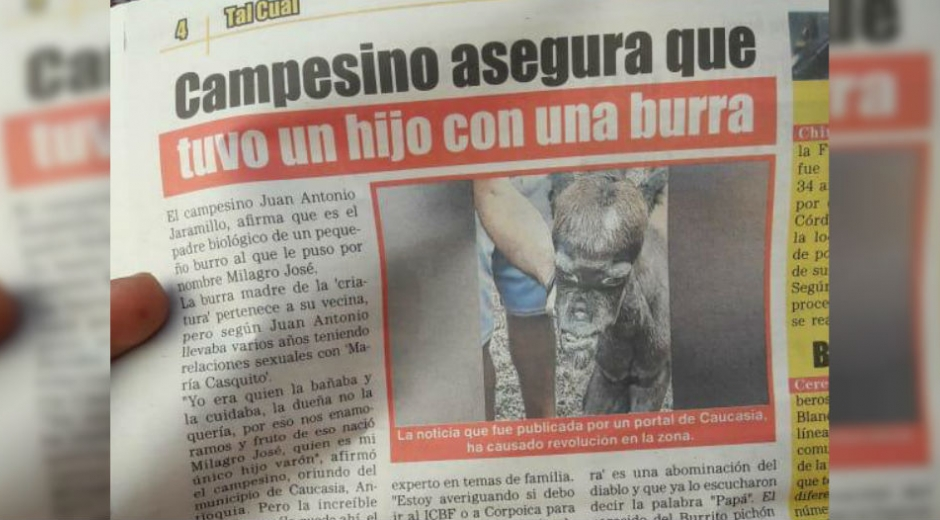 Edición del periódico El Propio, de El Meridiano, en el que aparece la noticia falsa.