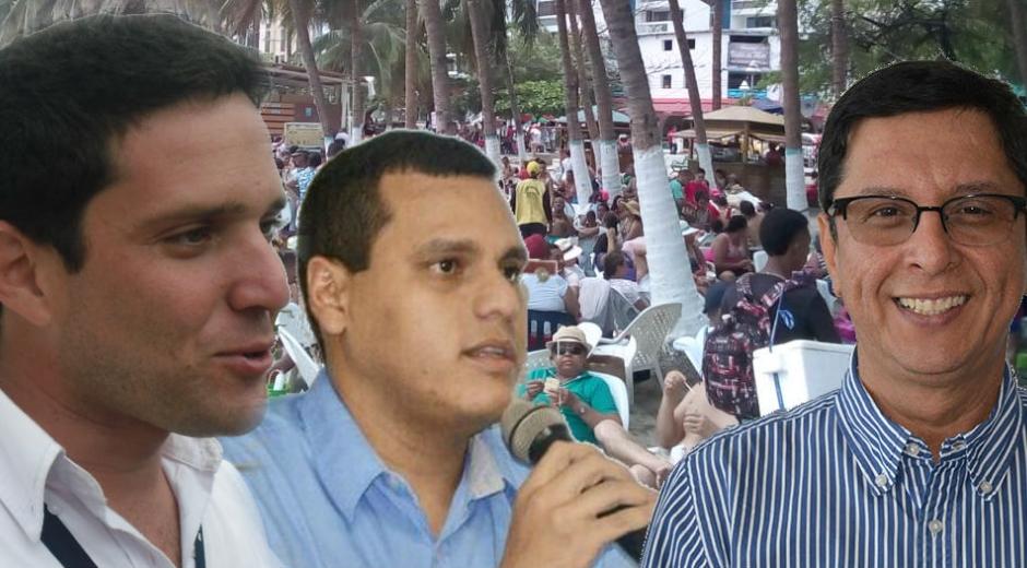 La polémica se dio entre Camilo George y César Mercado (izquierda) y el gerente de ProRodadero, Iván Calderón (derecha).