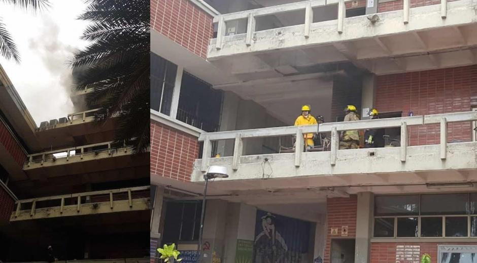 Incendio este lunes en el quinto piso del Bloque D de UniAtlántico.