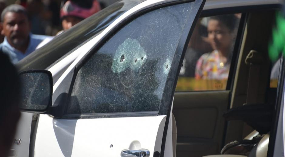 Automóvil en el que fue asesinado Haled Saghair.