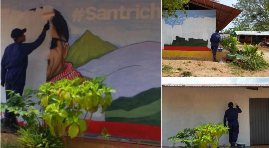 De blanco pintaron la pared donde había un mural de 'Jesús Santrich' en Tierra Grata, Cesar.
