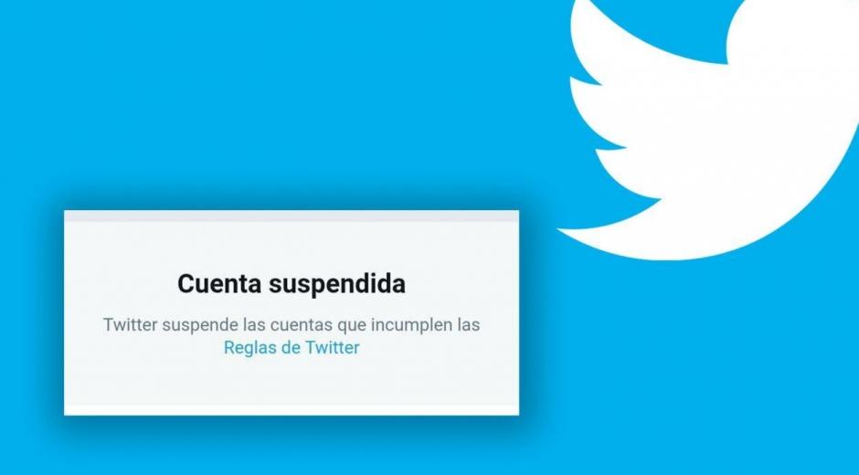 Mensaje de twitter a las cuentas suspendidas.