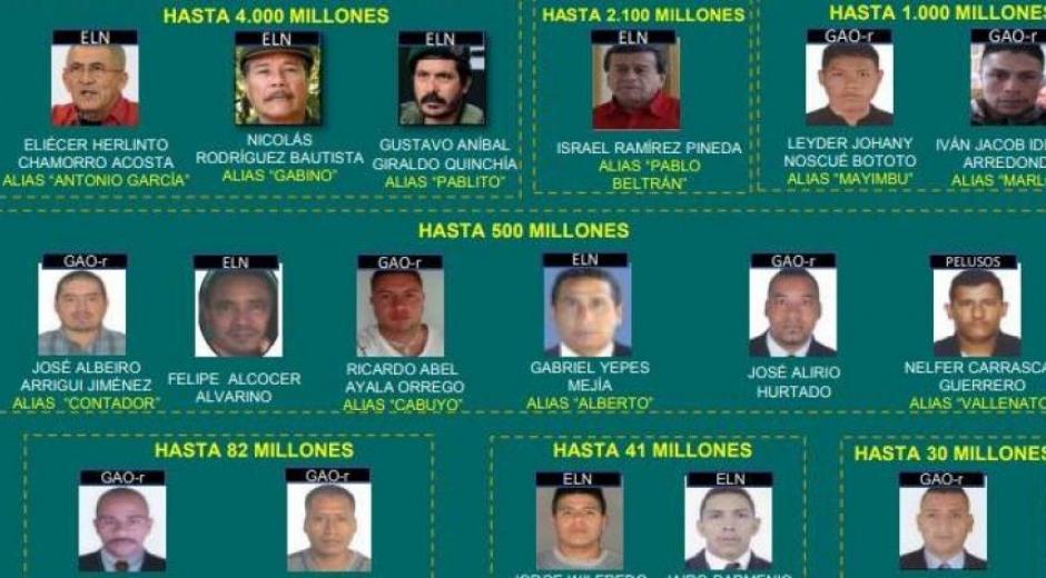 Cartel de los 30 más buscados por crímenes contra excombatientes de las Farc