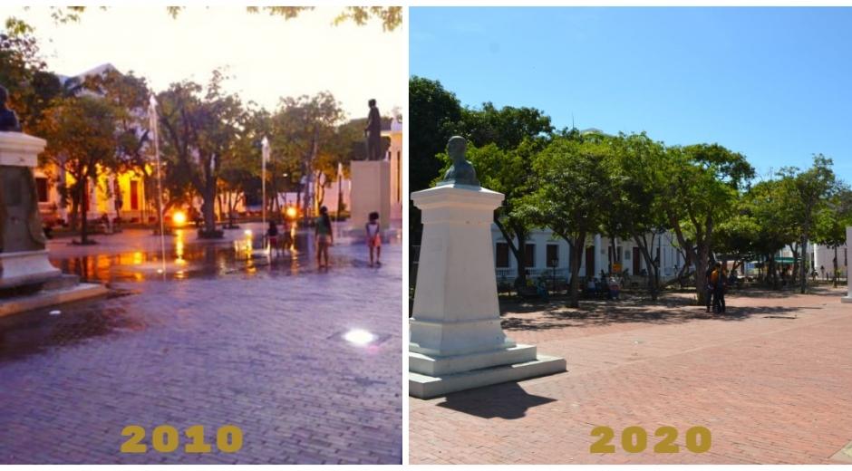 Centro Histórico de Santa Marta, con una década de diferencia.