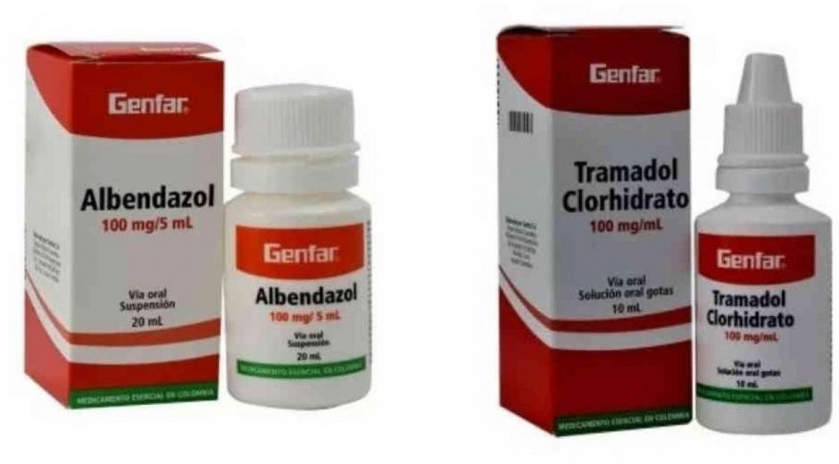 Albendazol y Tramadol.