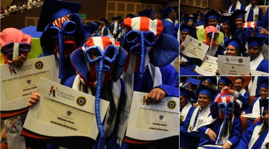 Las marimondas universitarias durante la ceremonia.