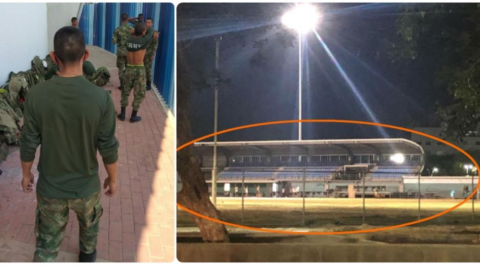 Militares acuartelados en el estadio de béisbol del Polideportivo.