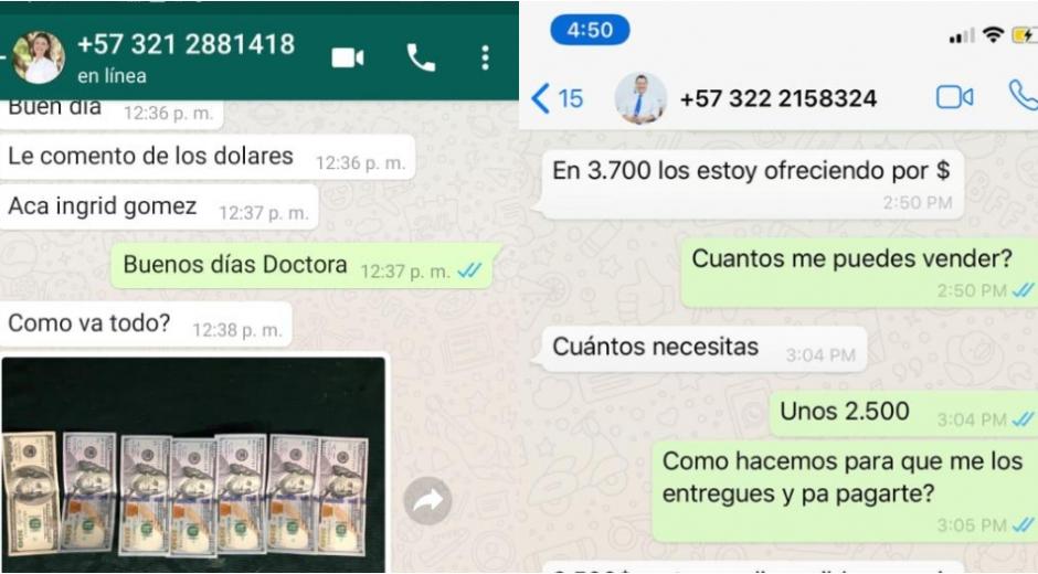 Este es parte de los capture de las conversaciones con las que intentaban a estafar a amigos de la concejal y el exgerente del hospital.