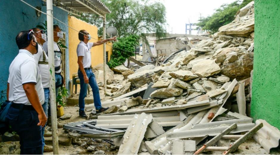 Zona afectada por el deslizamiento del cerro Ancón.