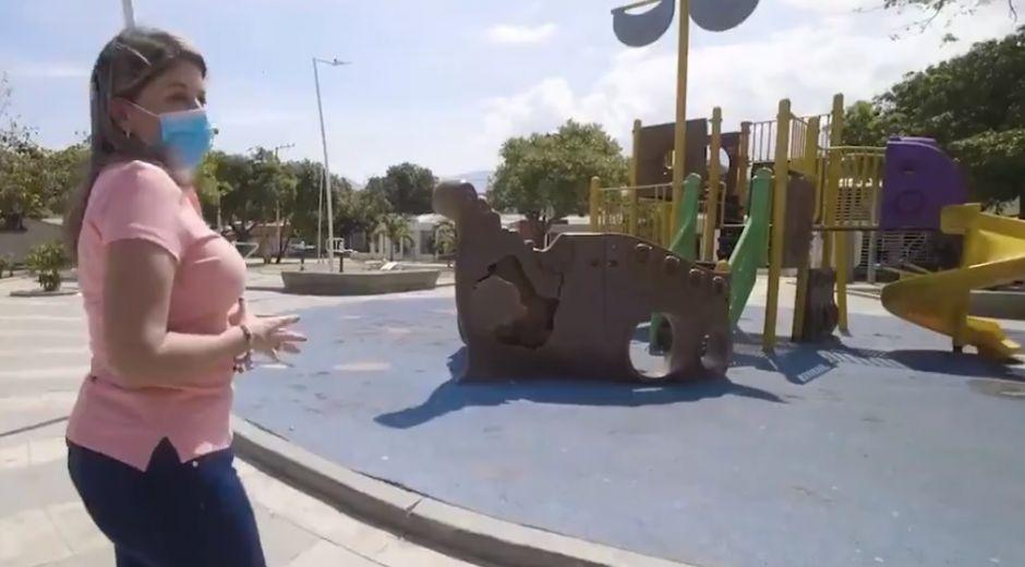 Virna Johnson, alcaldesa de Santa Marta, reportó el deterioro de los parques en la ciudad.