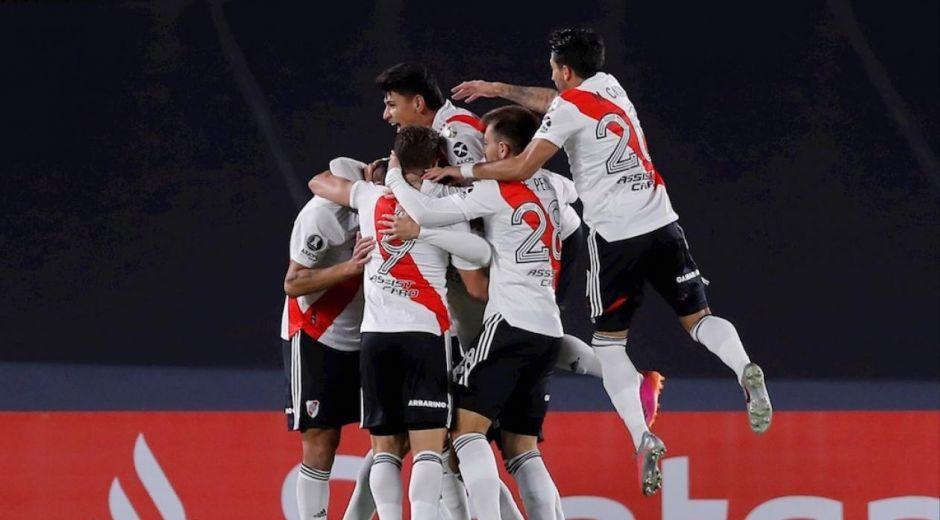 Celebración de uno de los goles de River Plate.