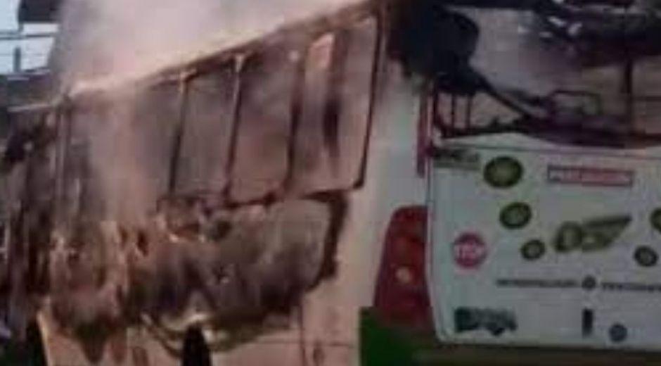 Así quedó el bus.