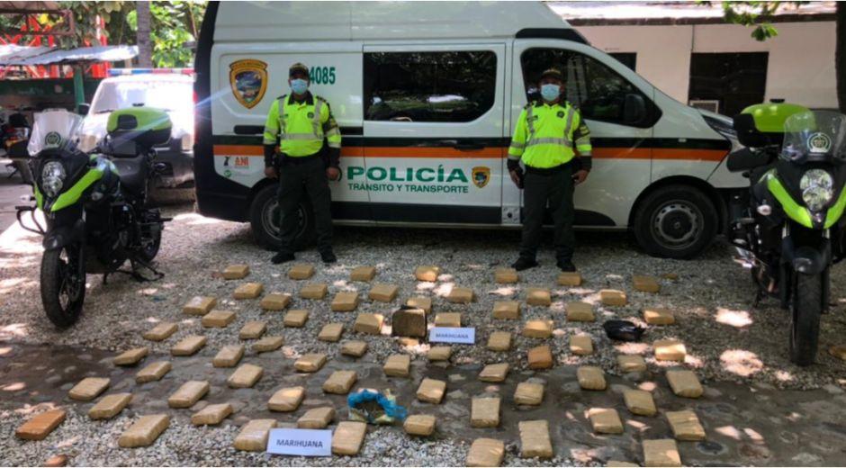 Un total de 50 kilos de marihuana fueron hallados por la Policía del Magdalena.