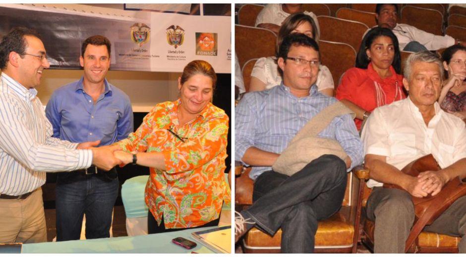Carlos Caicedo (de azul, foto derecha) fue testigo de cómo Juan Pablo y Sergio Díaz Granados gestaron la renovación del teatro Santa Marta.