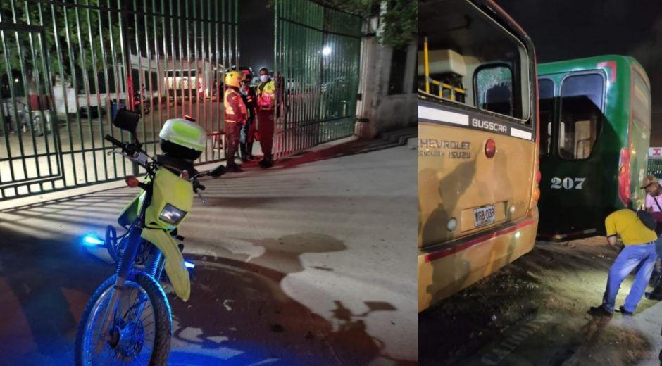 En la noche del sábado lanzaron granadas a la flota de buses en Barranquilla.