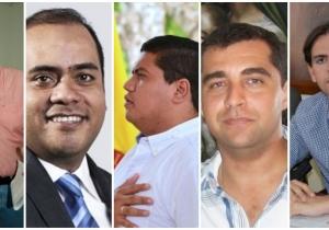 Fabián Castillo (izq), Jaime Peña, Fabio Manjarrez, José Luis Pinedo y Chelito Dávila (der) son algunos de quienes aspiran al Congreso por Cambio Radical.