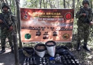 Material incautado a la guerrilla del ELN en La Guajira.