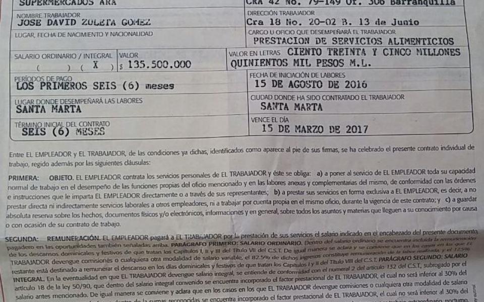 Con este contrato de ARA una de sus víctimas accedió a prestarle el dinero.