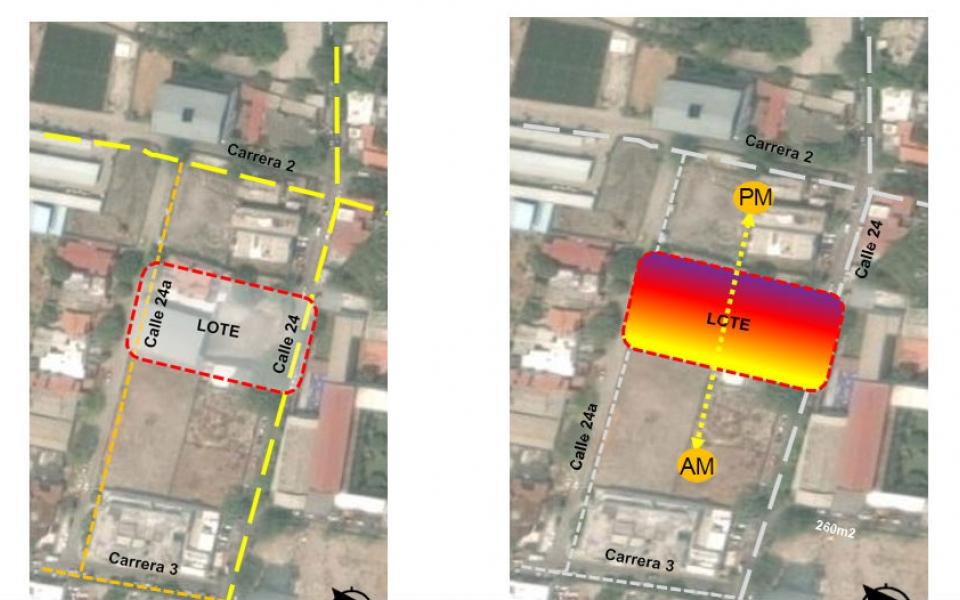Plano geográfico de la nueva sede de la Cámara de Comercio.